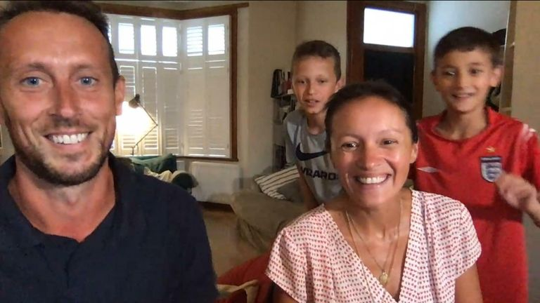 An interview with the  father of a family racing back to the UK before quarantine is interrupted by his family arriving home.