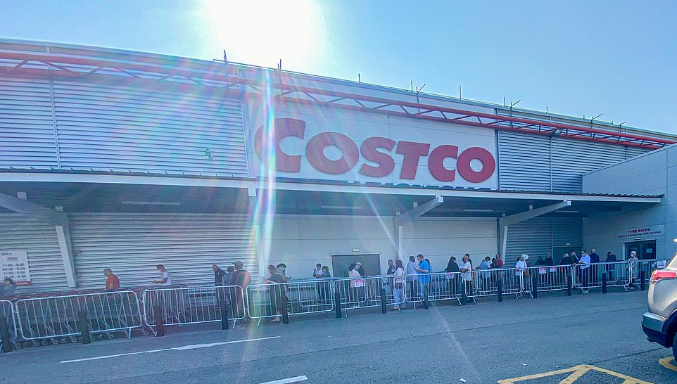 This was the sight at the Costco store in Leeds where metal barriers had been erected to control the growing crowds
