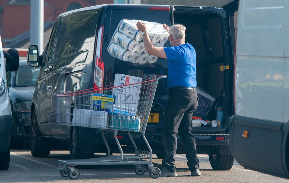 This shopper did not appear to have brought any groceries on his visit to the Leeds Costco store, instead choosing to stock up on loo roll amid fears of panic-buying