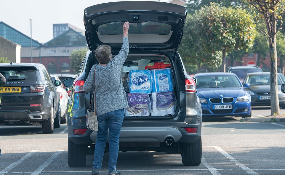 This shopper's car was packed with loo roll as she prepared to depart the Costco store in Leeds this morning