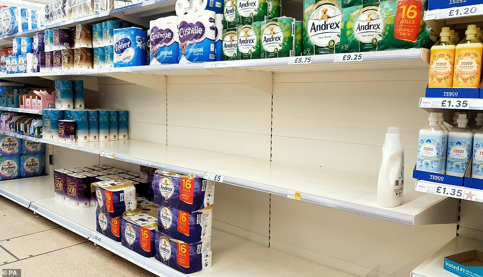 The bulk packs of toilet tissue flew off the shelves of shops in Ashford, Kent, as customers across the country emptied supermarkets of essential items in the wake of Boris Johnson's speech this morning