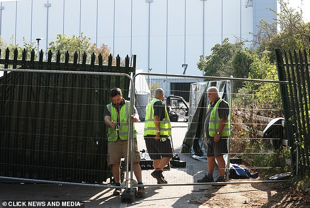 Security screens were set up around Pinewood after the shocking incident on Sunday night