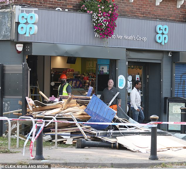 The criminals stole a JCB and then used it to ram-raid a nearby Co-op and make off with a cash machine
